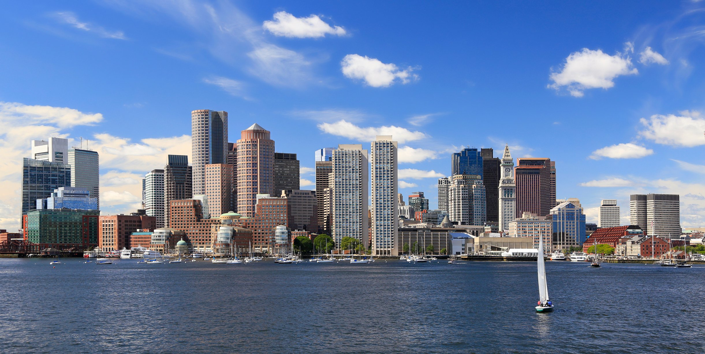 scenic view water and buildings downtown in  Boston, Massachusetts