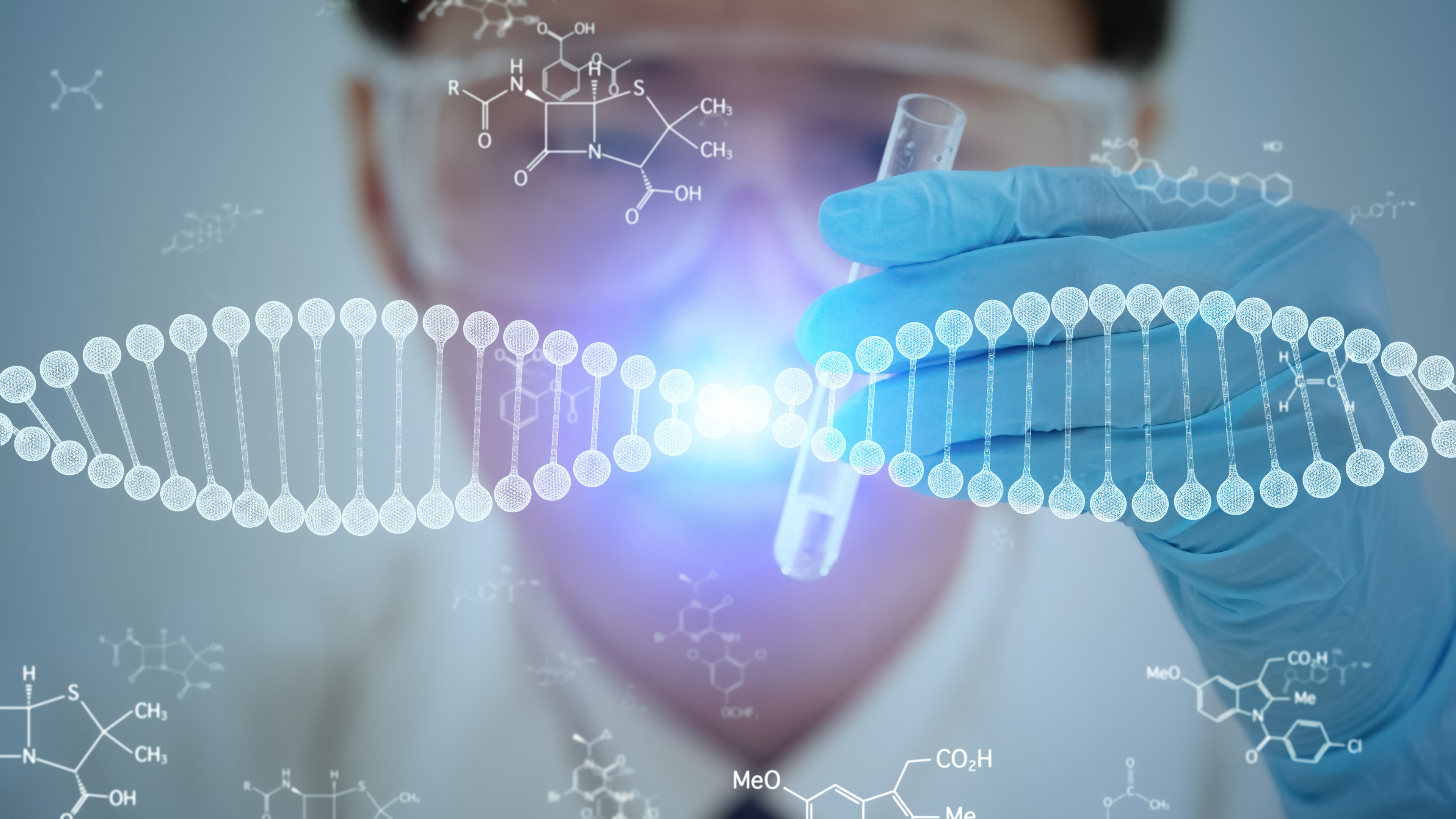 doctor looking at gene therapy concept
