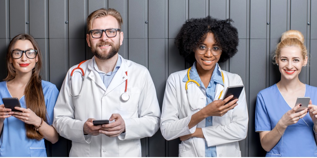 doctors holding their phones